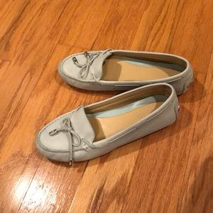 Michael kors leather baby blue loafers